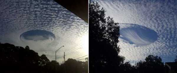 mini cloud streets forming from standing clouds waves or electrical breakdown clouds besides fallstreak holes or punch hole clouds