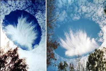 phenomenon clouds known as sky holes, punch hole clouds, corn circle clouds or Fallstreak Holes